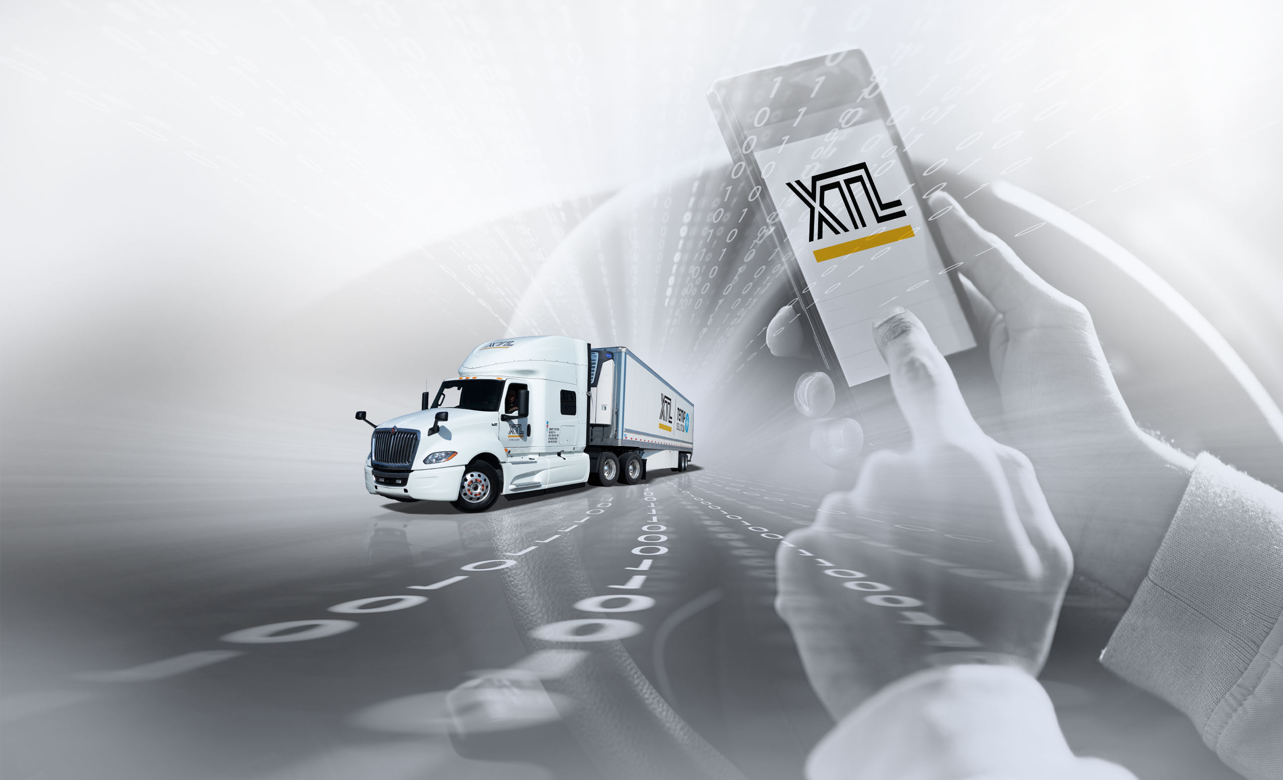 Person using a smart phone to view XTL website, with digital numbers and XTL transport truck in the background